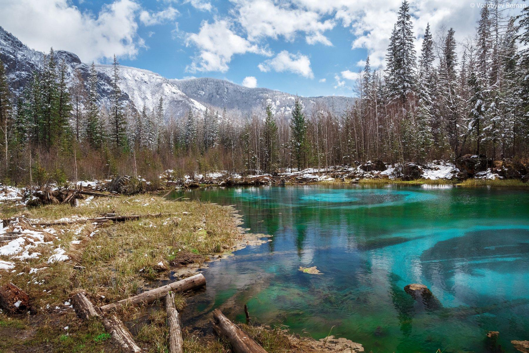 алтай, весна, горное озеро, горный алтай, май, озеро, пейзаж , горы ,, Roman Vorobyev