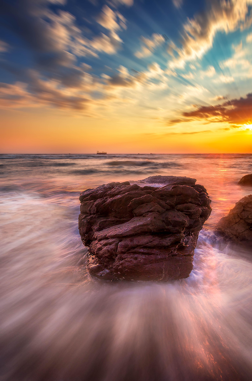 Clouds, Long exposure, Sea, Stone, Waves, Миша Шнеер