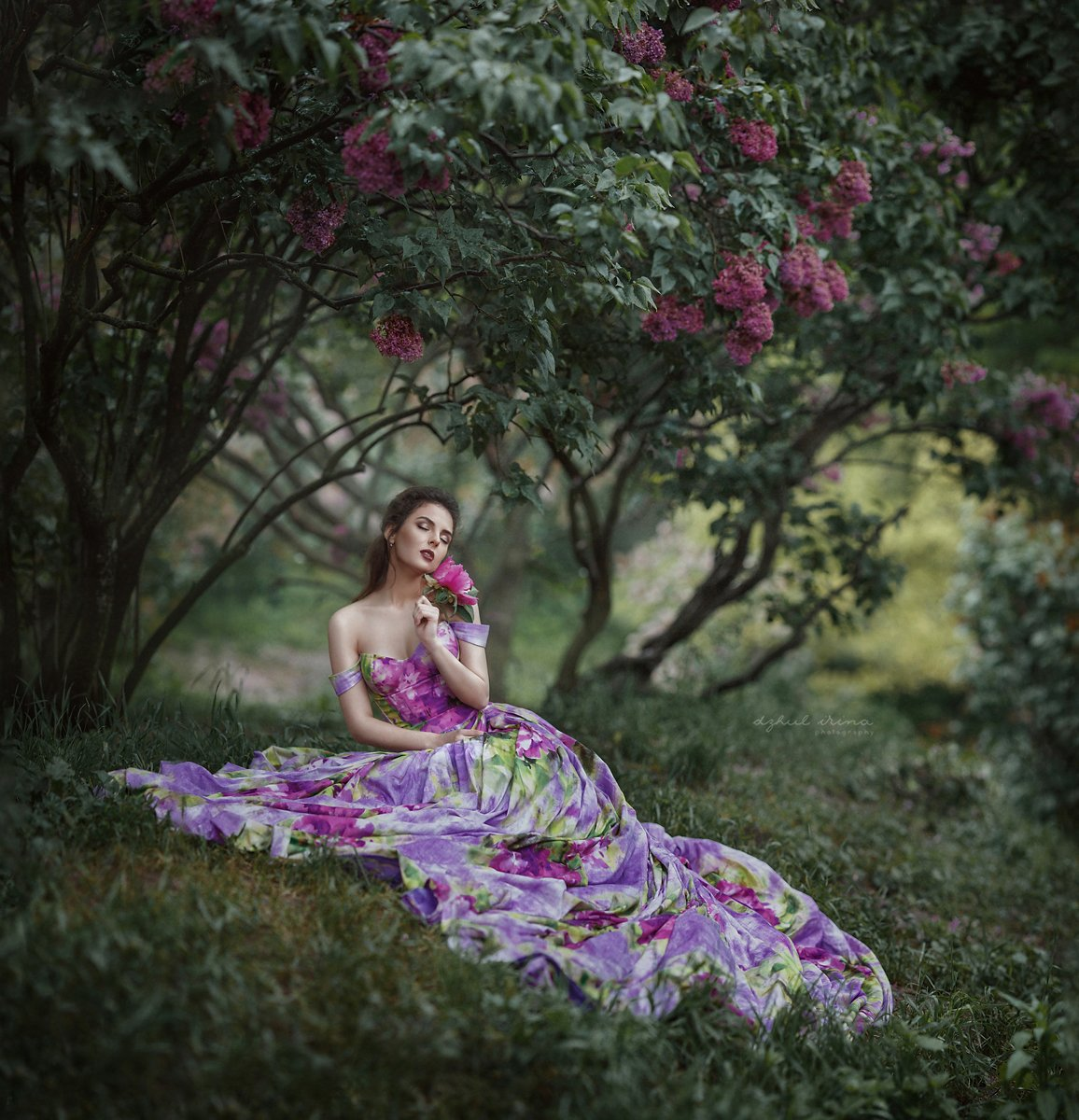Dress, Flower, Girl, Green, Lilac, People, Popular, Portrait, Trees, Ирина Джуль