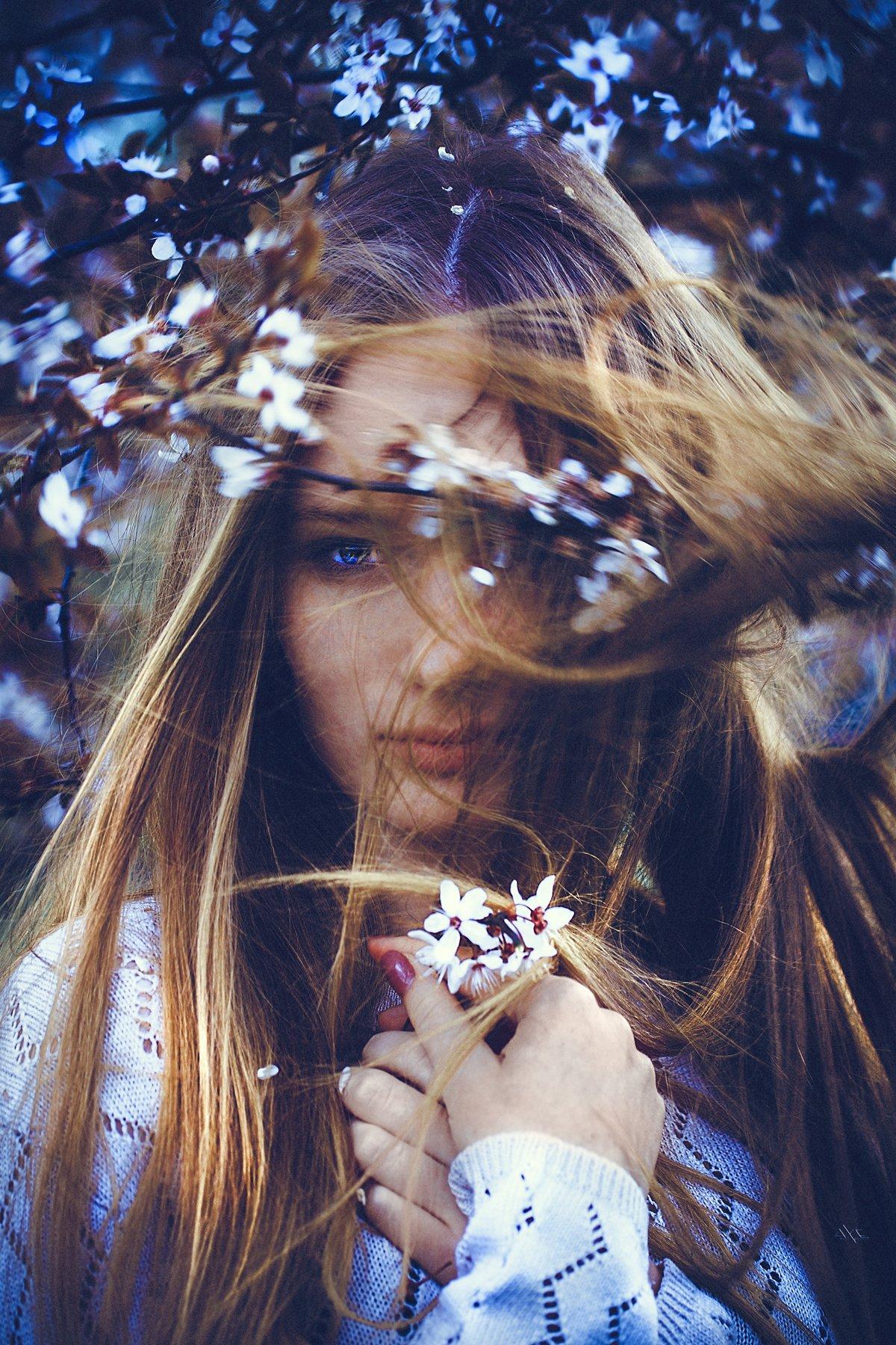Apple garden, Blooming, Mood, Natural light, Portrait, Woman, Руслан Болгов (Axe)
