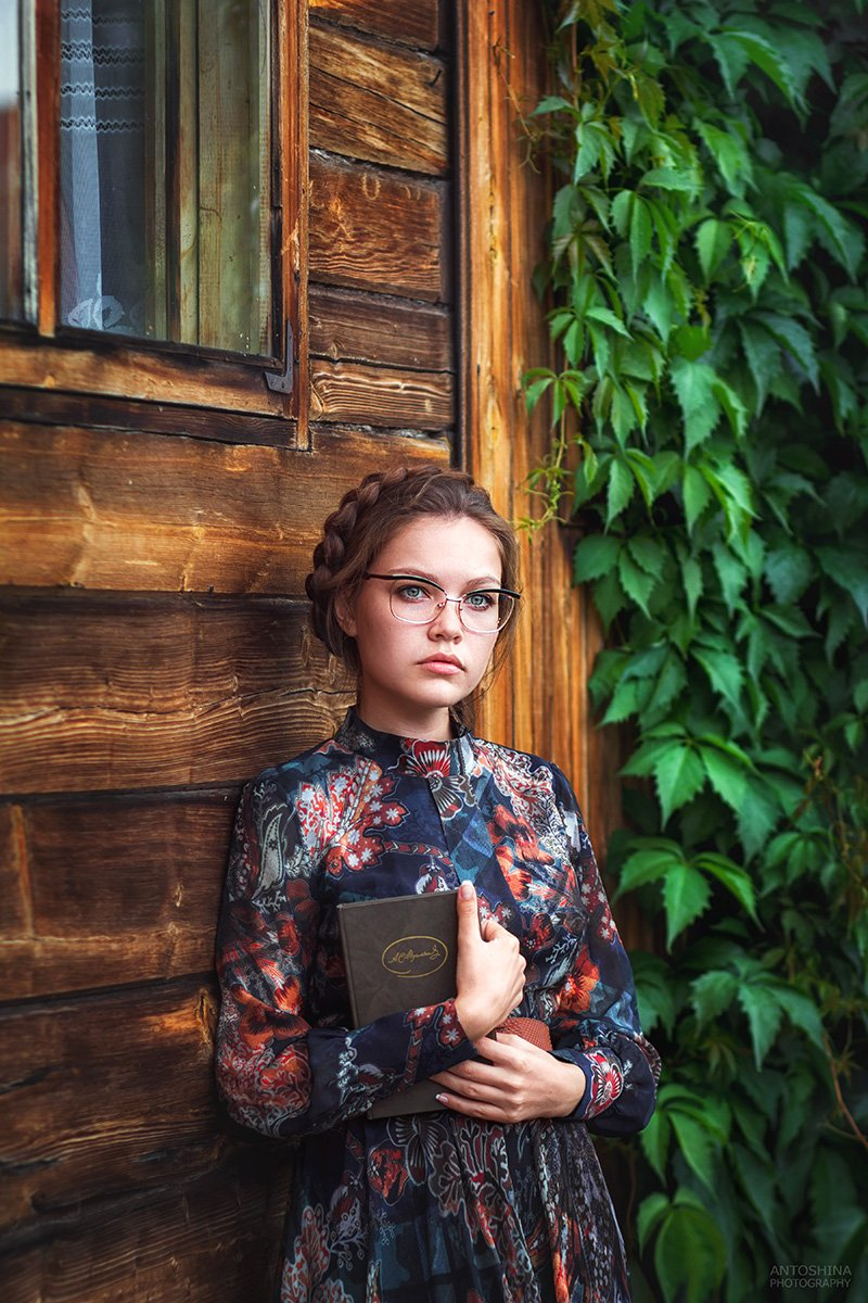 портрет, книга, листва, девушка, лето, portrait, book, girl, summer, Антошина Татьяна