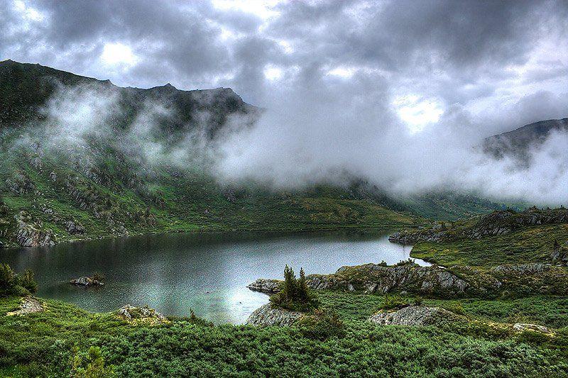 пейзаж, озеро, горы, западные саяны, Адясов Алексей