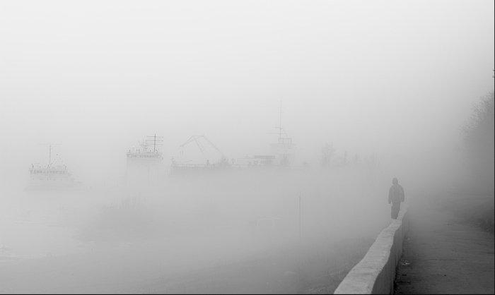 архангельск, туман, порт, фигура, одинокий, KSergeyV