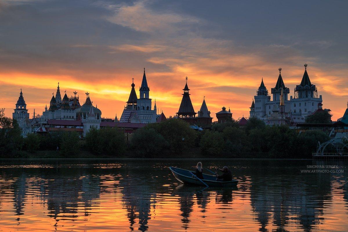 Закат, Измайлово, Кремль, Москва, Парк, Пруд, Симонян Сергей