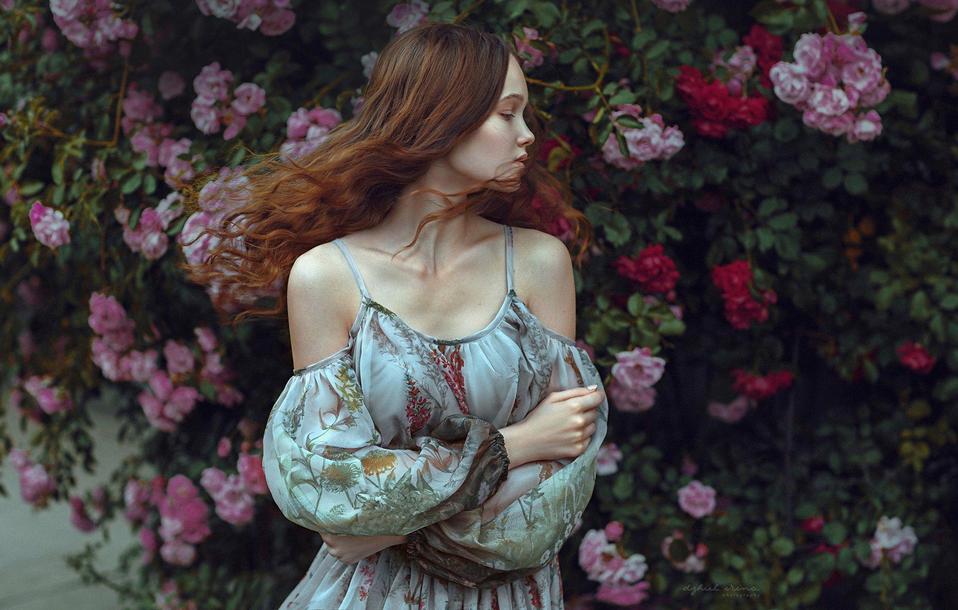 Dress, Dzhul irina, Flowers, Girl, Hair, Irinadzhul, People, Portrait, Red, Ирина Джуль