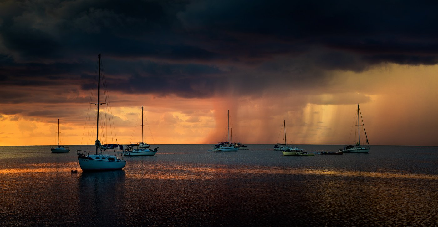 Boats, Clouds, Oceanwater, Rain, Red, Sky, Sony a7r, Sunset, Water, Waves, Alexandru Popovschi