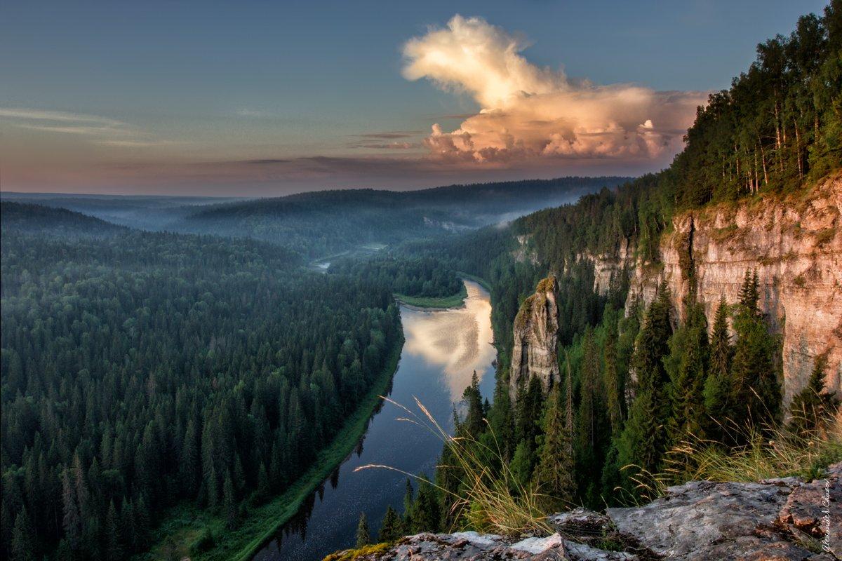 Урал, лето, тайга, река, облака, природа, Александр Чазов