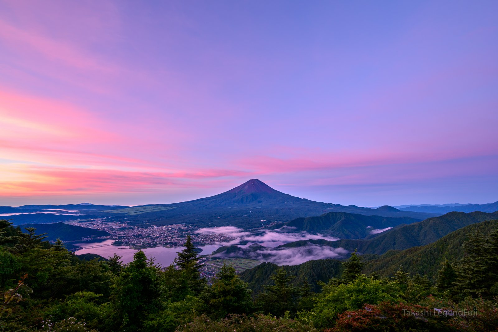 Fuji,mountain,sky,blue,pink,tree,lake,Japan,morning glow,sunrise,sunshine,morning,, Takashi