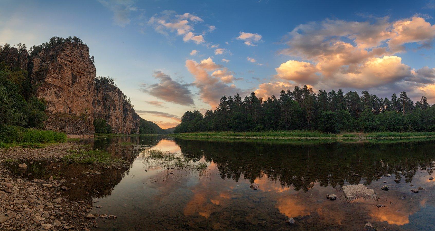 закат, река, скалы, Данил Ромодин