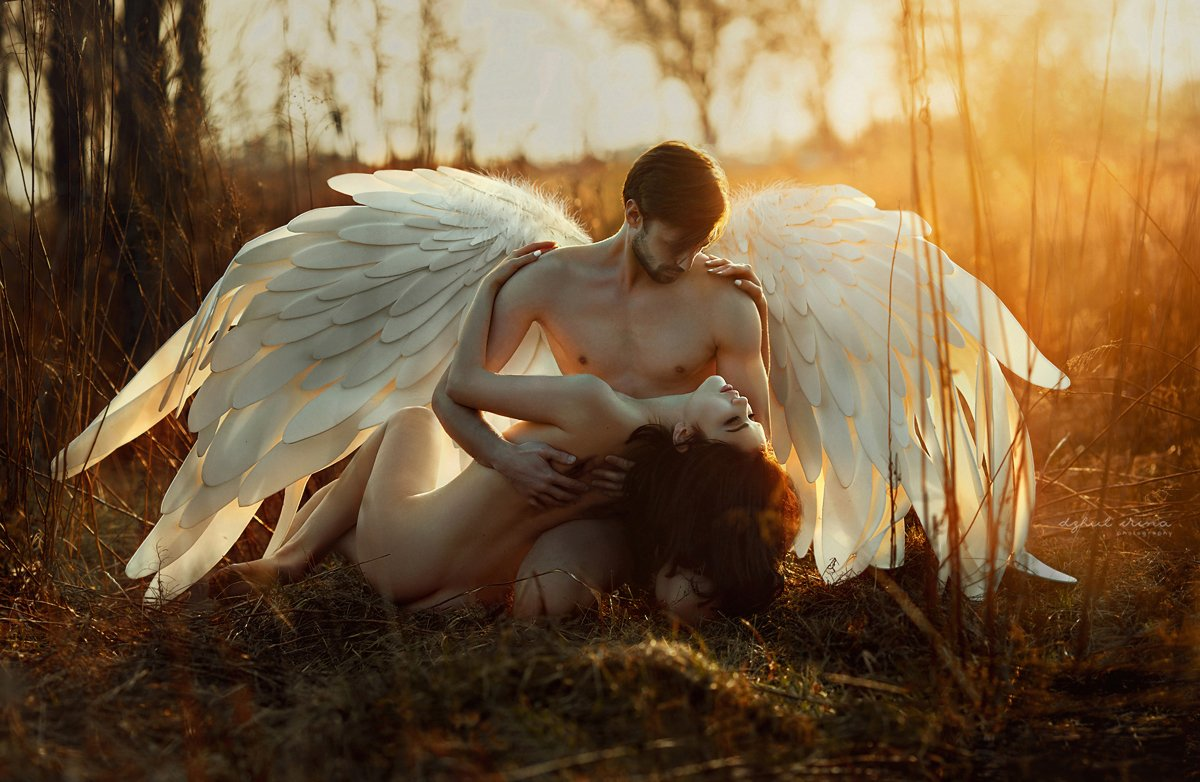 angel, dzhul irina, fallen, girl, irinadzhul, man, nude, sun, sunset, wings, woman, Ирина Джуль