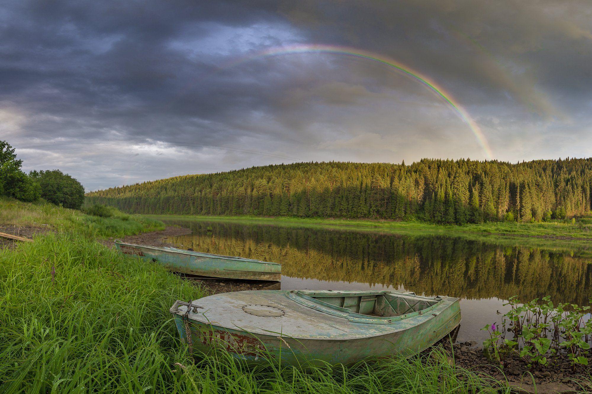 радуга, лодки, река, вечер, отражение, Савицкий Ян
