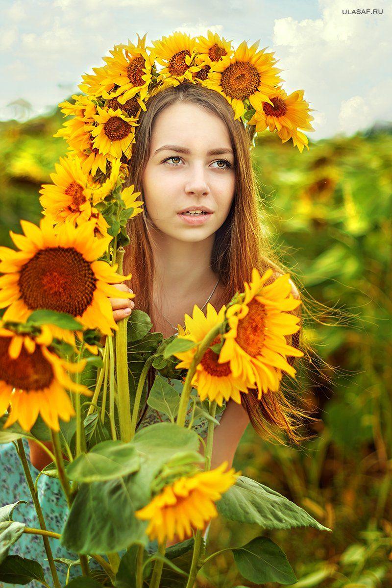 Girl, Portrait, Sunflowers, Подсолнухи, Поле подсолнухов, Портрет девушки, Юлия Сафонова