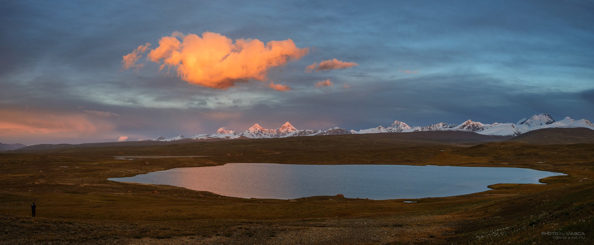 Киргизия, горы, закат, облако, озеро, Данкова пик, Vasca