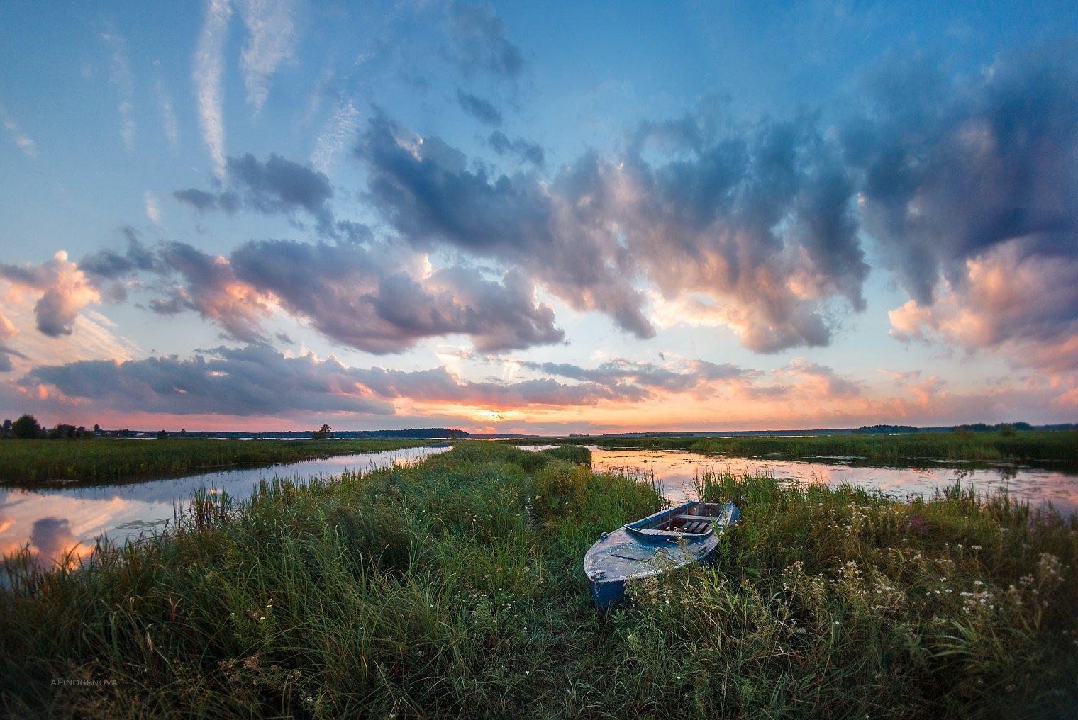 утро рассвет берег лодка небо облака пеленг, Афиногенова Татьяна