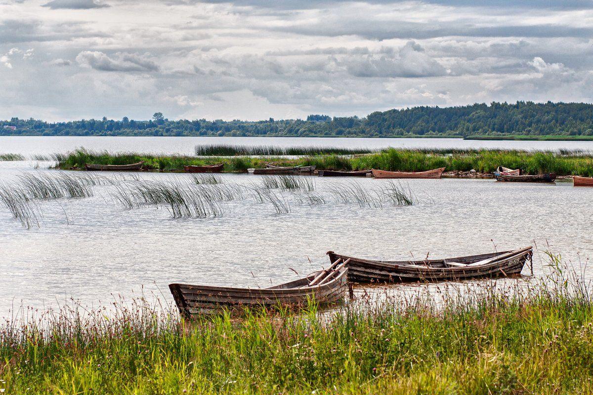 lake, boat, sky, clouds, summer, озеро, лодка, облака, лето, пейзаж, тучи, Сергей Владимиров