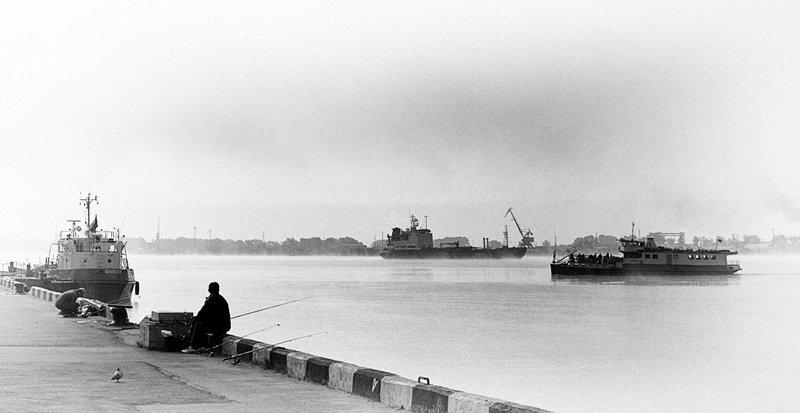 архангельск, северная двина, туман, переправа, кегостров, рыбак, корабль, порт, KSergeyV