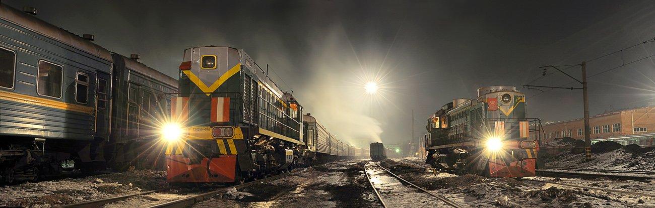 сортировочная, тепловоз, ржд, пути, железная, дорога, ночь, зима, холод, прожектор, тэм, Pete.J.Dunham