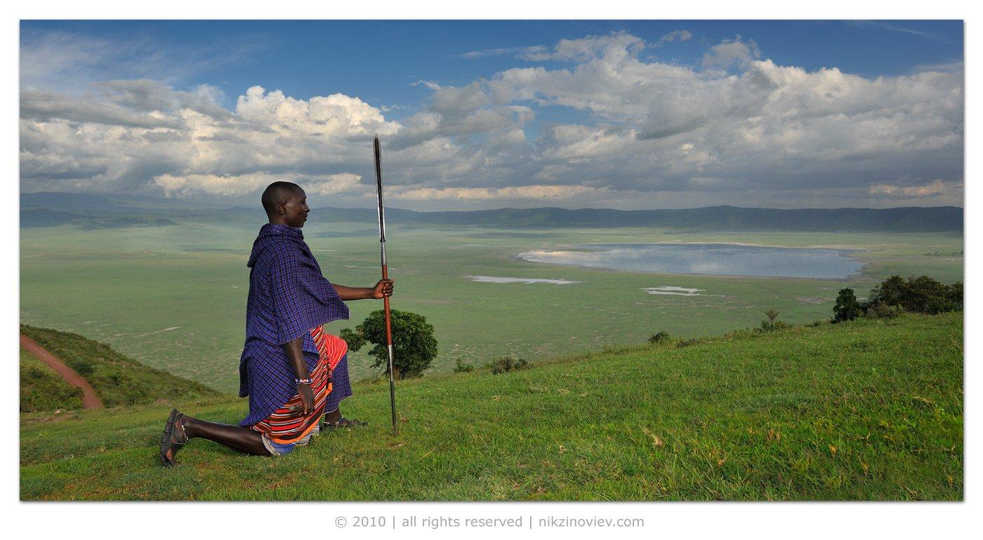 нгоронгоро, африка, племя, масаи, воин, Николай Зиновьев