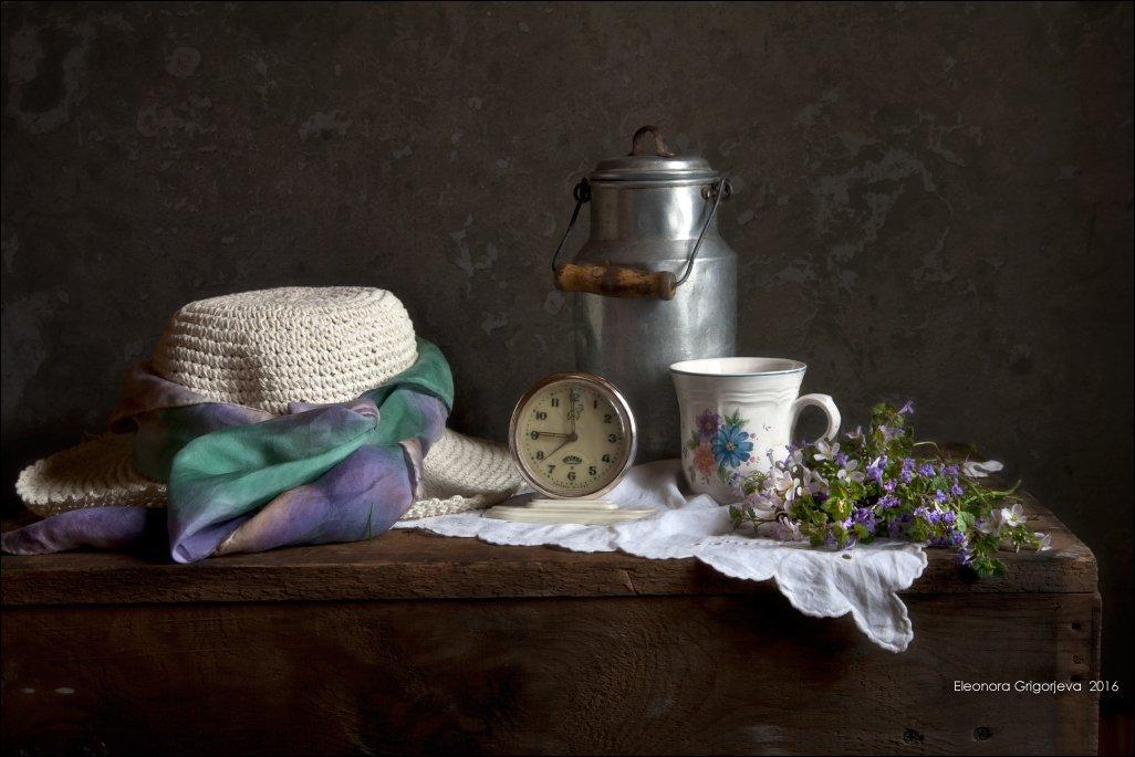 бидон, будильник, весна, натюрморт, часы, Eleonora Grigorjeva