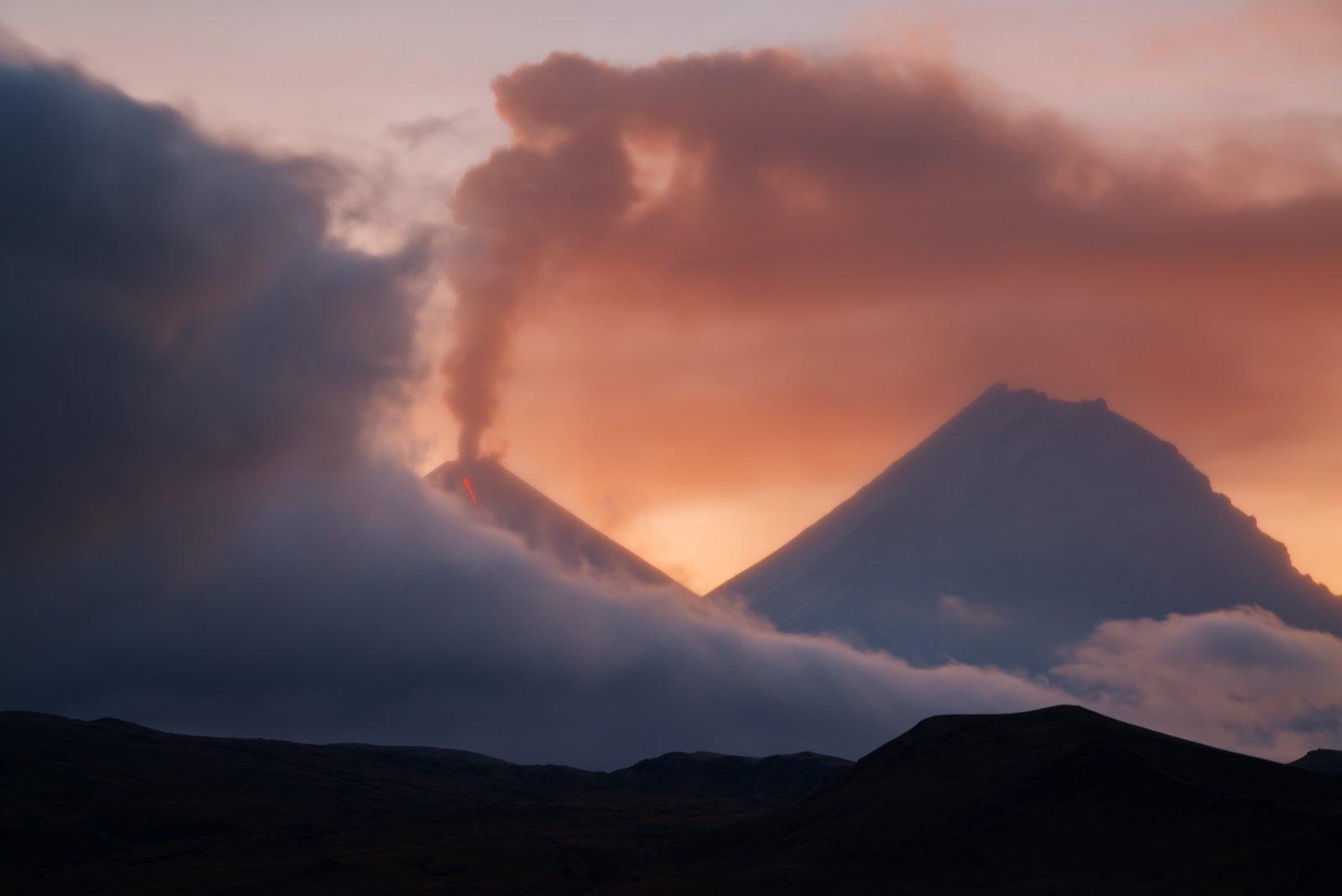 Вулкан, Дальний восток, Закат, Извержение, Камчатка, Пейзаж, Россия, Вадим Балакин