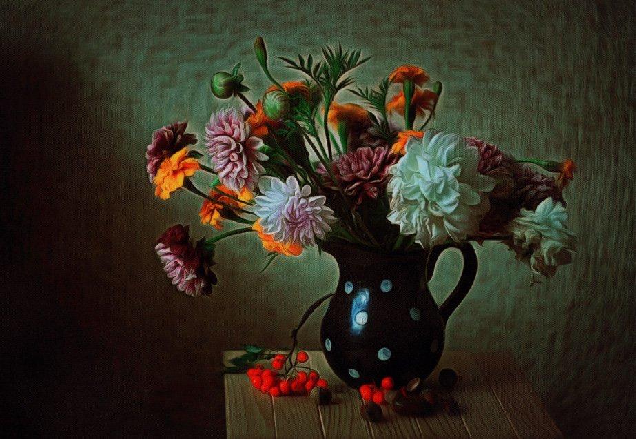 .георгины., Натюрморт, Рябина, Цветы, Princess Bubblegum