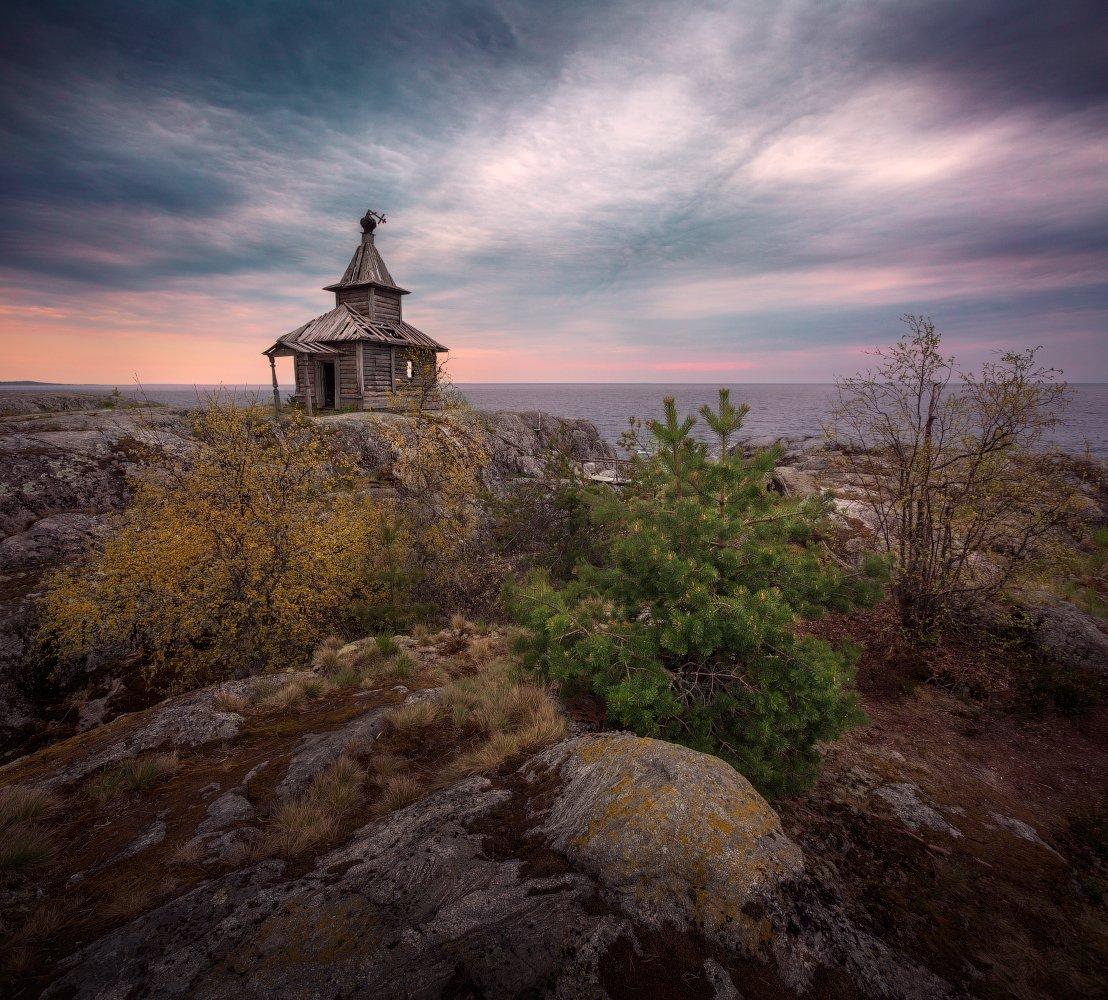 вечер, Ладога, шхеры, вода, камни, скалы, закат, небо, церковь, Есусаарет, Cтанислав Малых