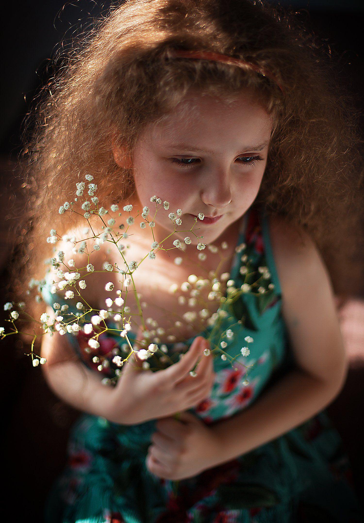 Девочка, Портрет, Цветы, Dina Orlean