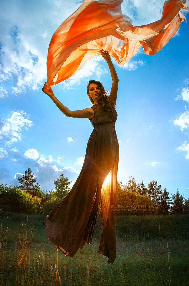 Девушка, левитация, ветер, ткань, солнце, небо, Аверина Елена