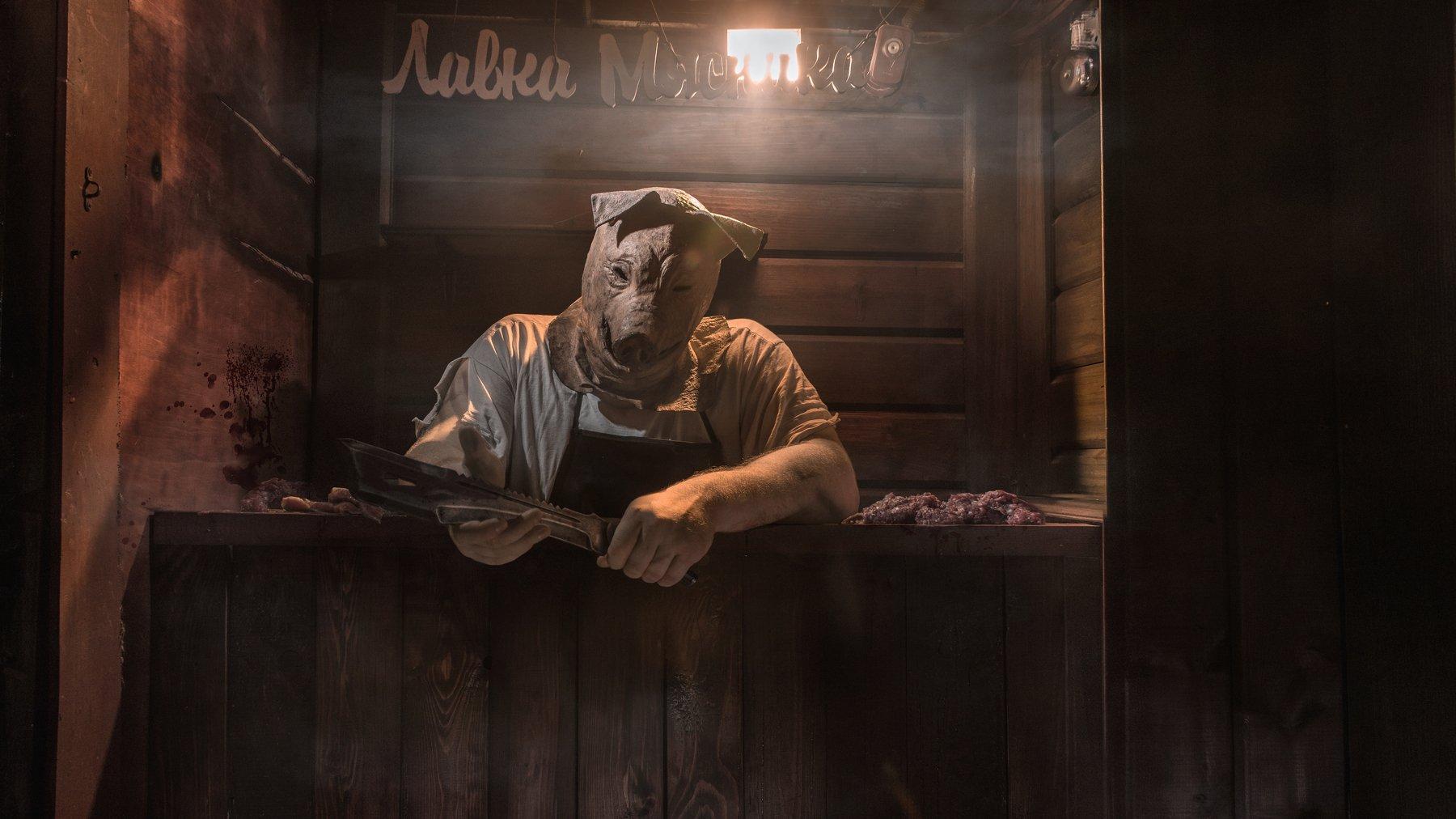 buthcer, meat, fear, нож, тесак, мясник, мясо, Andrei Boldyshev