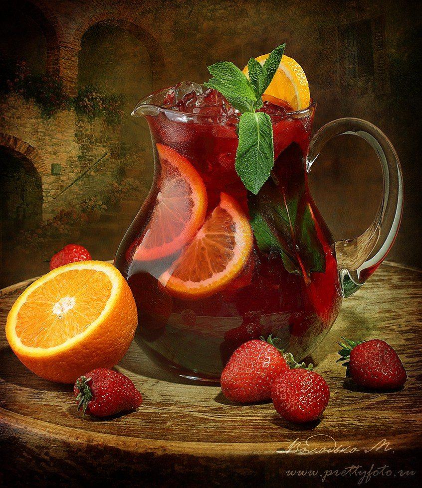сангрия,вино,напиток,пить,фрукт,цитрус,мята,апельсин,клубника,жажда, Марина Володько