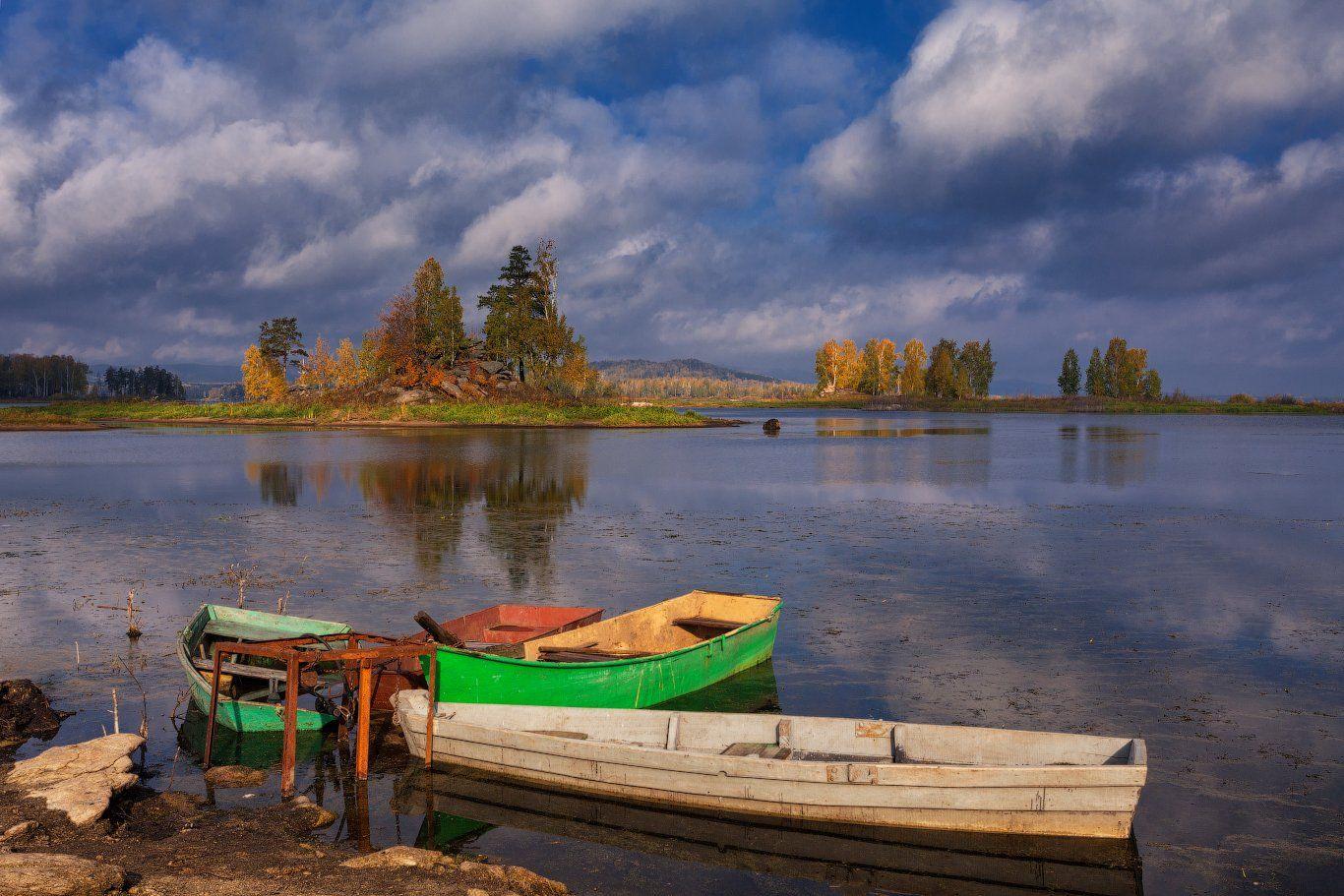 Вода, Золотая осень, Лодки, Небо, Озеро, Осень, Данил Ромодин
