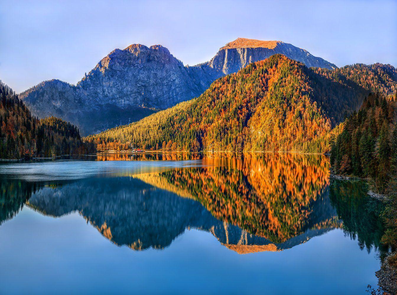 Абхазия, Горы, Лес, Озеро, Осень, Рица, Лашков Фёдор