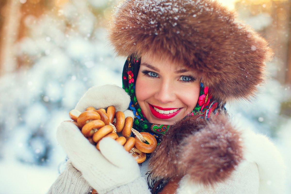 холод мороз морозко россия красавица русская деревня сушки баранки мех зима урал исеть снег , Ульянова Лилия