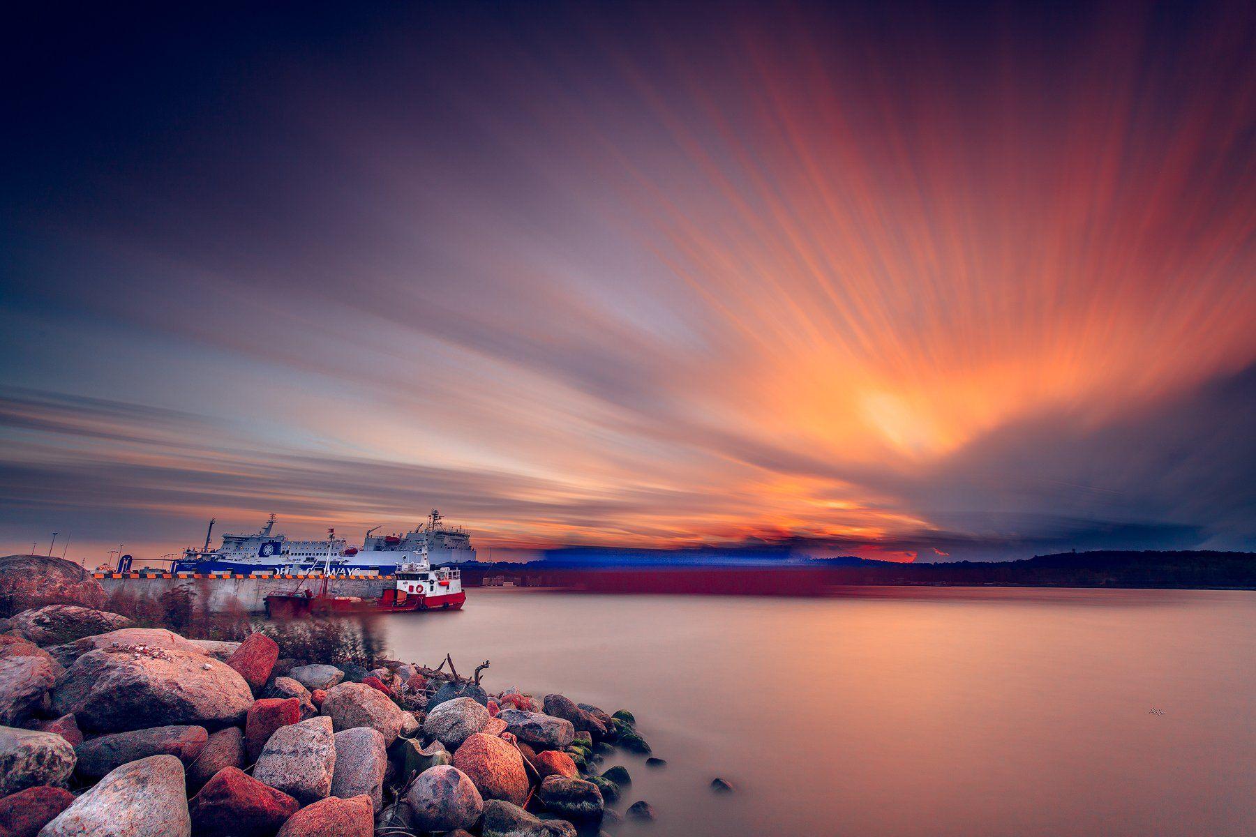 Klaipeda, Lithuania, Long exposure, Port, Sunset, Руслан Болгов (Axe)