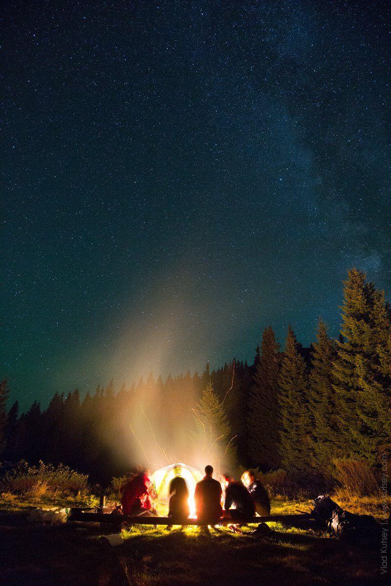 ночь, звезды, лагерь, палатка, костер, путешествие, карпаты, горы, гора, шпицы, Владимир Куцый