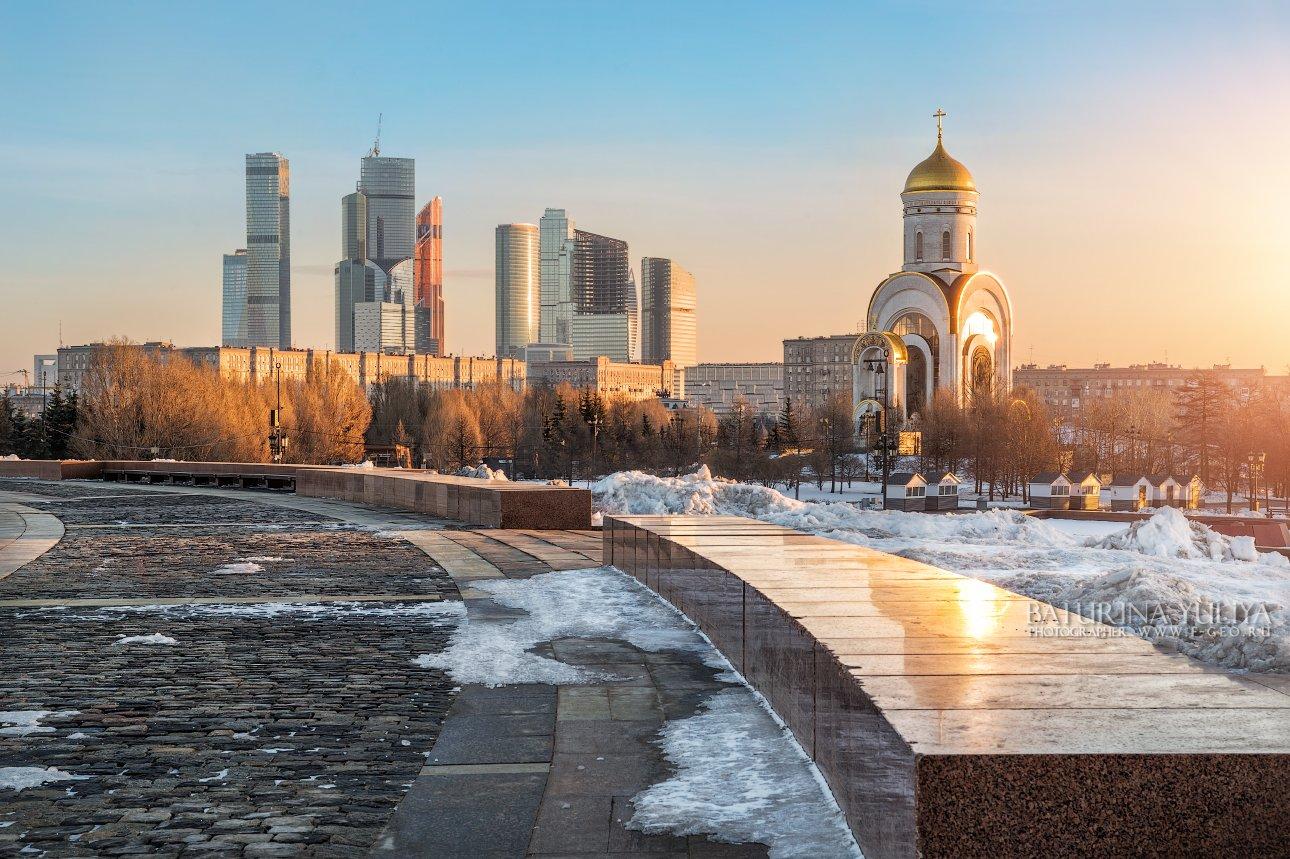 поклонная гора, храм, георгиевская церковь, сити, архитектура, зима, москва, Юлия Батурина