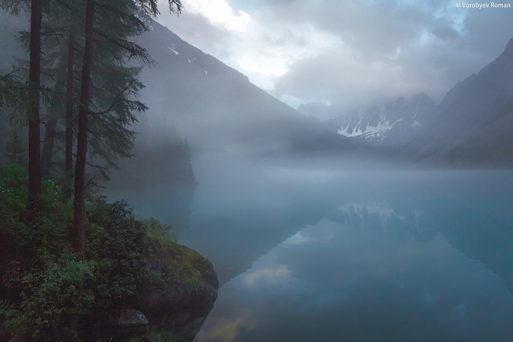 Алтай, Горное озеро, Горы, Озеро, Отражение, Туман, Roman Vorobyev