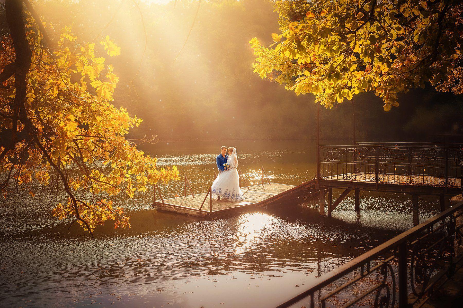 Контровый свет, Молодожены, Мостик, Озеро, Осень, Пруд, Свадьба, Инна Сухова