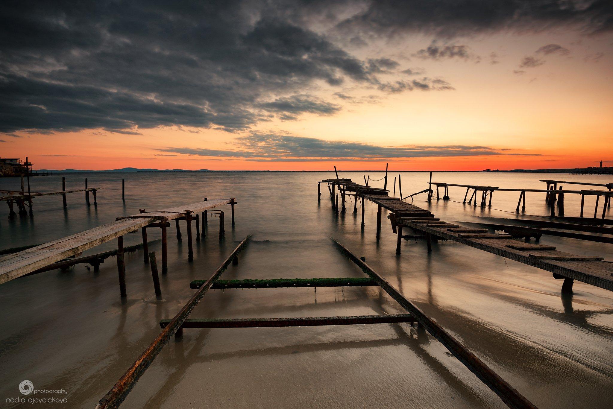 sunset, clouds, cloudscape, sky, autumn, sea, sun, Надя Джевелекова