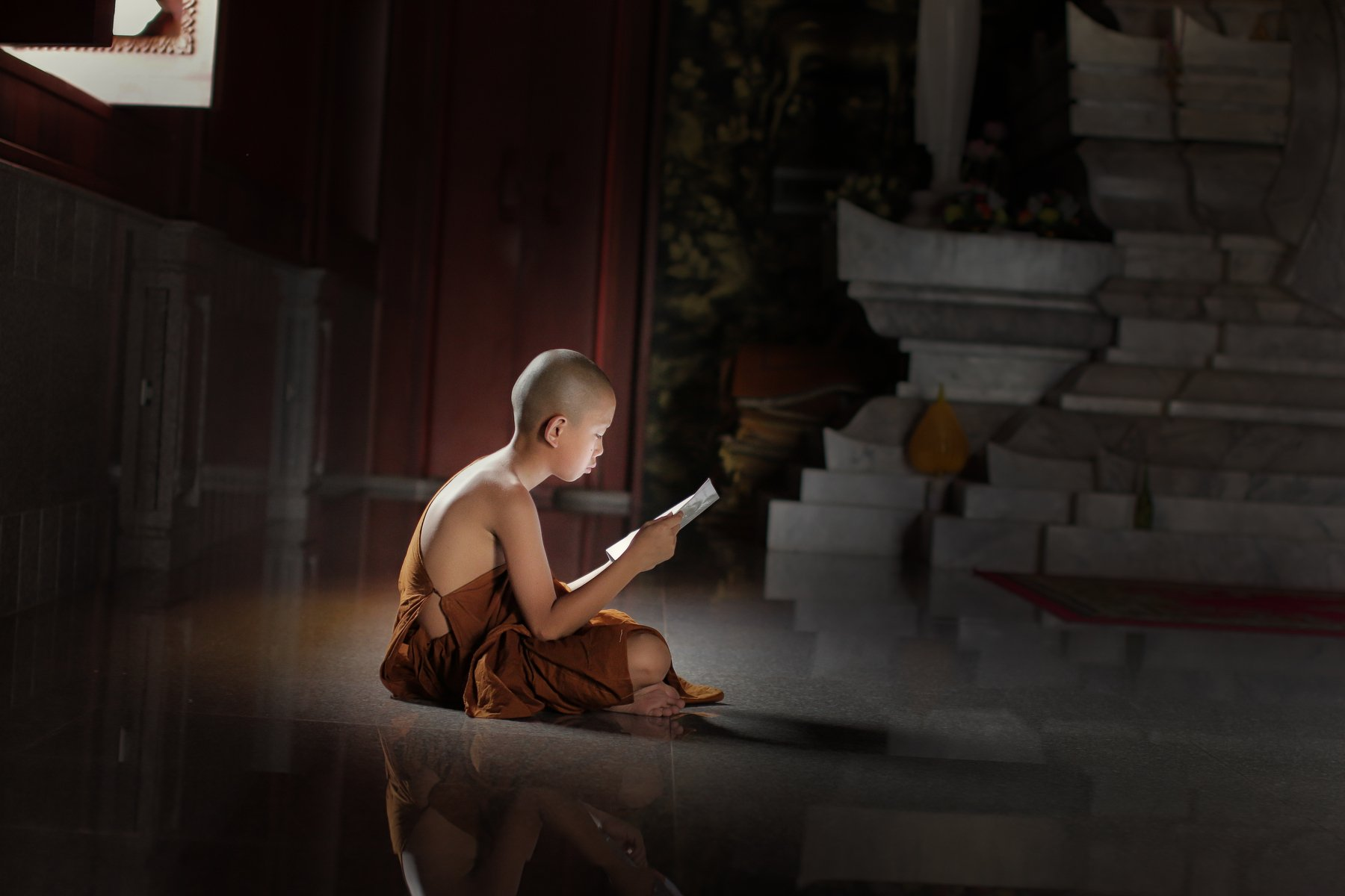 monk; buddhist; burma; robe; outdoor; tree; pilgrimage; children; two; green; red; burmese; culture; bagan; male; summer; umbrella; novice; people; ethnic; traditional; lesson; teaching; buddhism; asia; faith; belief; religious; learning; small; young; tr, Visoot Uthairam