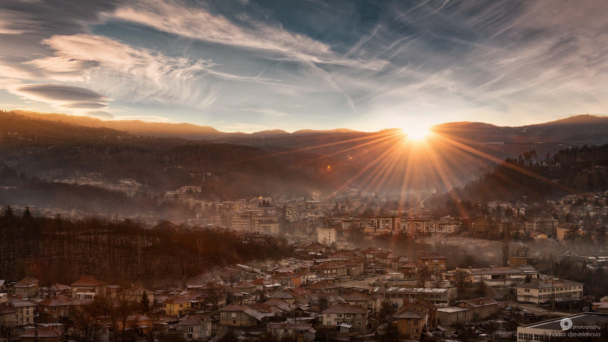 sunset, winter, sky, sun, clouds, cloudscape, tryavna, bulgaria, Надя Джевелекова
