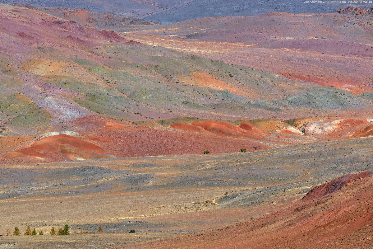Долина, ручей, Кызыл-Чин, Алтай, марс, краски, красный, зеленый, синий, желтый, деревья, степь, пустыня, горы, Валерий Романов