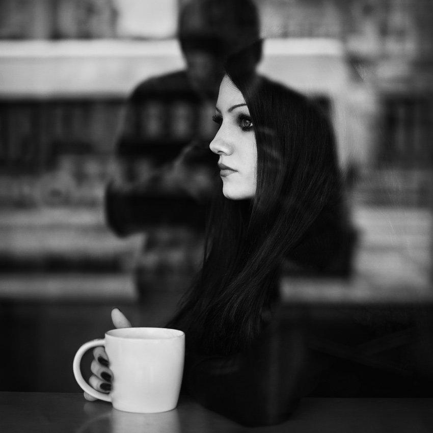 cafe, coffee, girl, bw, street, self, mood, Боби Костадинов