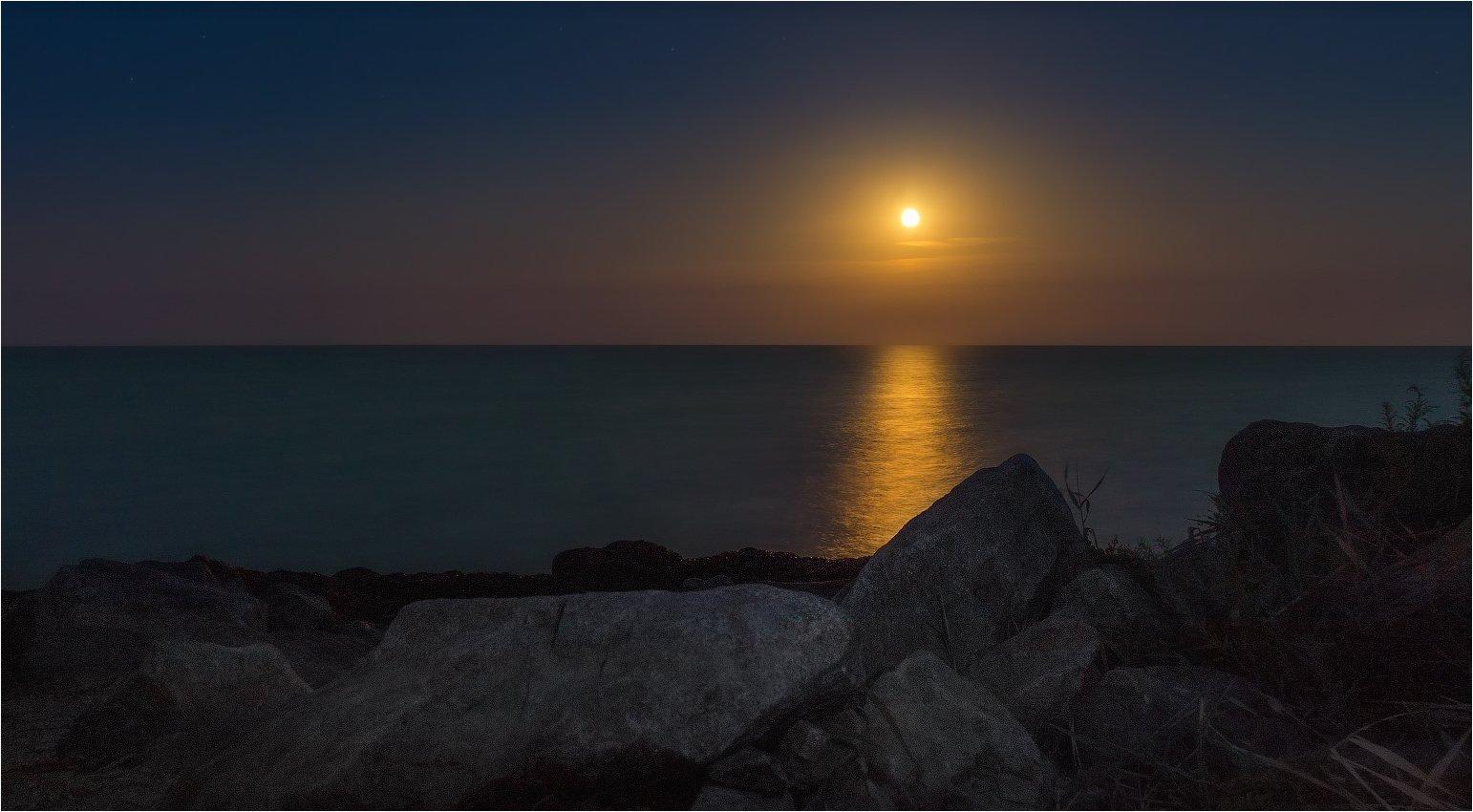 море, вечер, полнолуние,, азов, геническ,, Сергей Шабуневич
