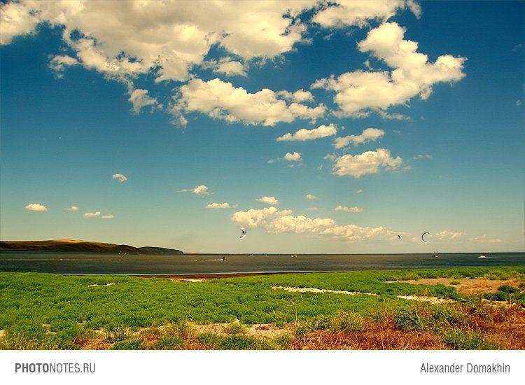 азовское море, море, пейзаж, горы, небо, облака, серферы, photonotes.ru, Alex Domakhin