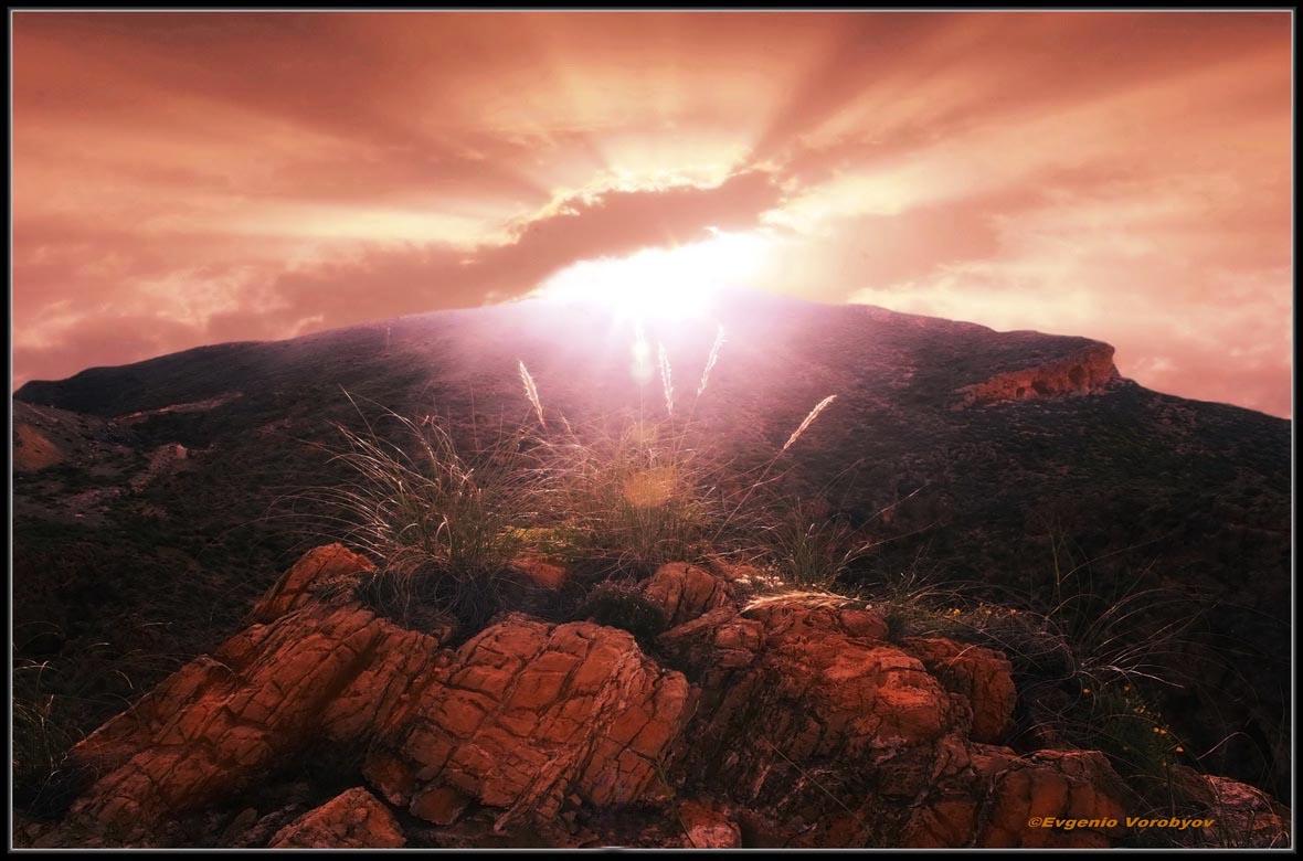 солнце, закат, горы, Evgeniy Vorobyov