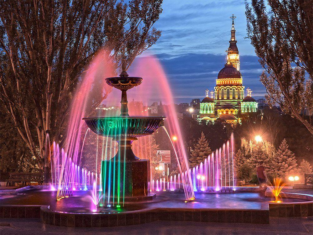 фонтан, собор, свет, вечер, Владимир Костылев