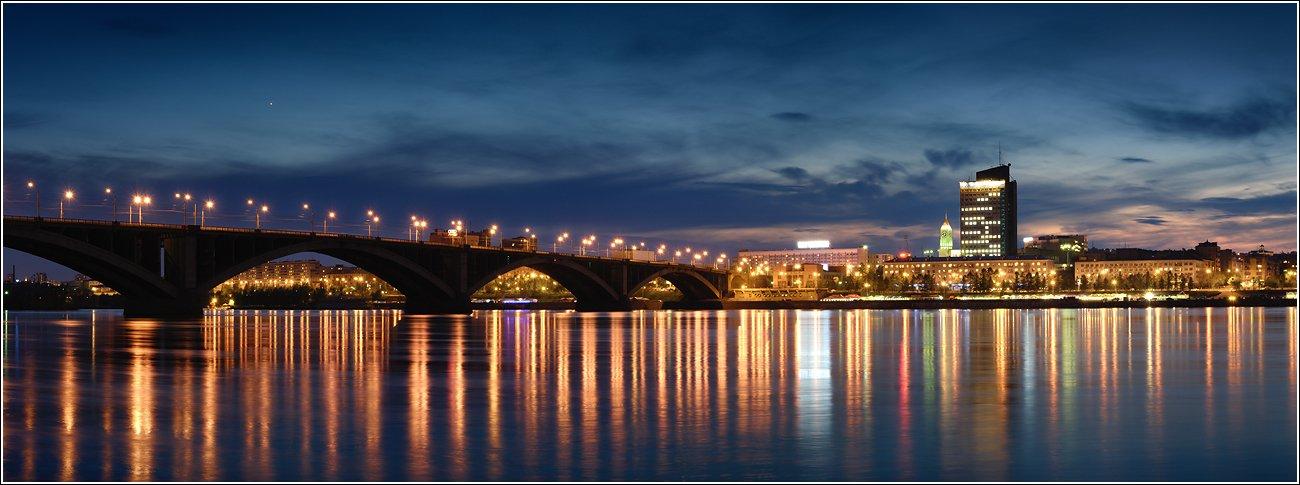 архитектура, большой, вечер, вода, город, енисей, закат, здания, красивый, красноярск, крупный, мост, набережная, ночь, огни, отражение, отражения, панорама, пейзаж, размер, река, свет, светящийся, сибирь, течение, широкий, яркий, Дмитрий Антипов