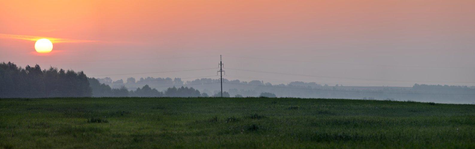 восход, рассвет, солнце, поле, утро, пейзаж, панорама, Динара