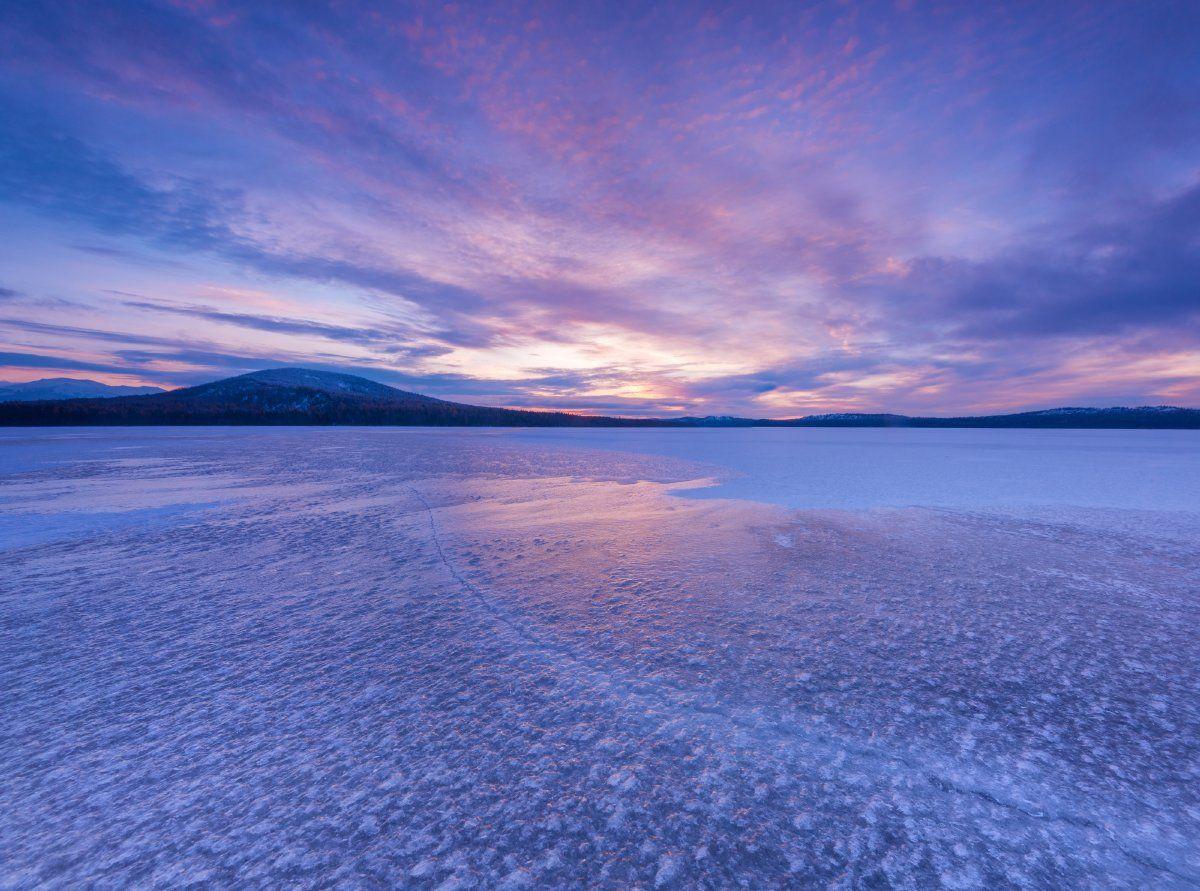 зюраткуль, южный урал, пейзаж, природа, россия, зима, лед, озеро, закат, горы, Вадим Балакин